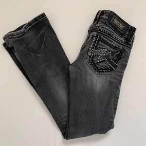 Miss Me Sunny Boot Cut Black Heavy Stitch Jeans 26